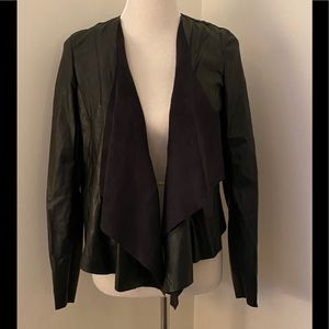 NEW BLANKNYC Black Faux Leather Open Front Jacket